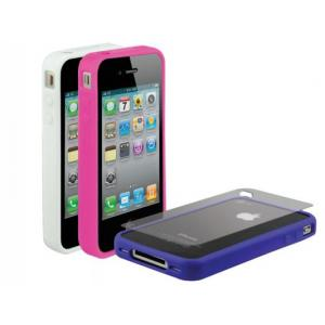 Scosche bandIT 3-Pack Rubber Edge Cases for iPhone 4 (AT&T) - White/Pink/Purple