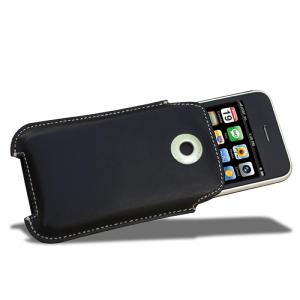 Covertec Black Leather Pouch Case for iPhone 3GS